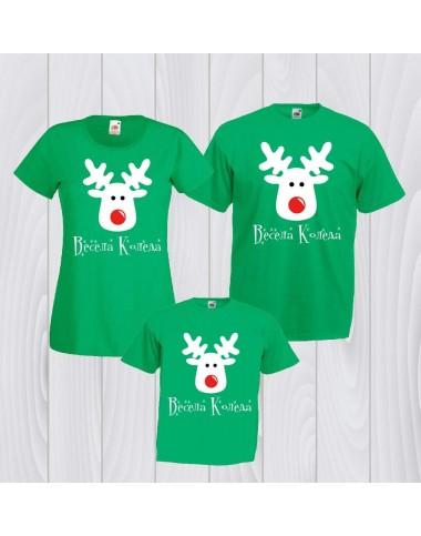 Коледен комплект елени в зелено