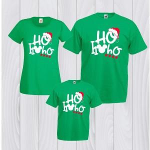 Коледен комплект  XO ХО ХО в зелено