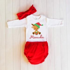 Коледни панталони с Еленче  с името на детето