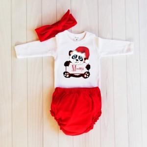 Коледни панталонки Мече  с името на детето