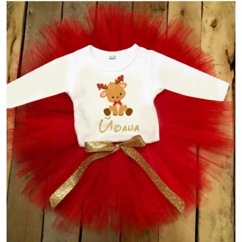 Коледен комплект с еленче в червено