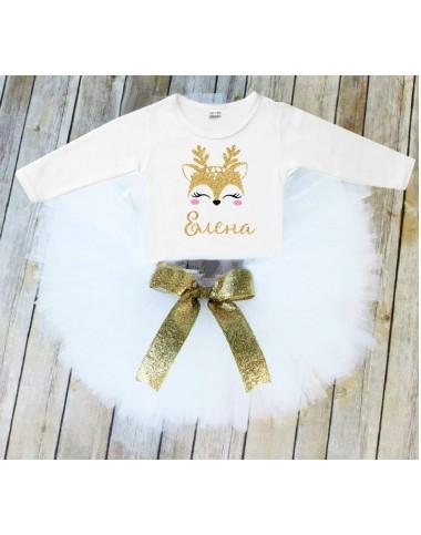 Коледен комплект с еленче в бяло