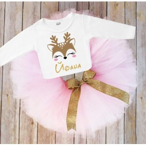 Коледен комплект с еленче в розово