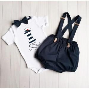 Детски  панталонки с тиранти и папионка