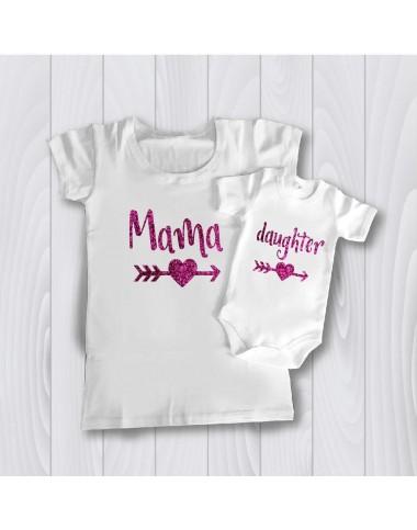 Комплект персонализирана тениска за майка и дъщеря