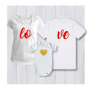 Комплект персонализирана тениска за мама , татко и дете LoVe