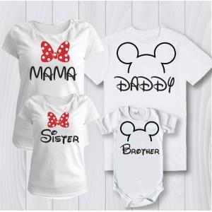 Комплект персонализирани тениски за цялото семейство Мини маус