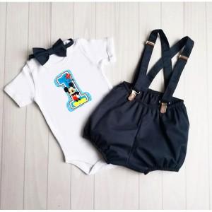 Детски  панталонки с тиранти и папионка Мики маус