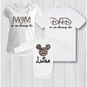 Комплект персонализирани тениски  Мини маус леопард