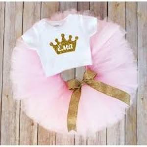 Туту комплект  в розово с името на детето